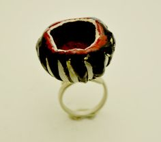 victoria ioannidou Adjustable sterling silver 925 ring Papier mache resin by atermono.