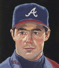 Greg Maddox - Gouache by Dick Perez Baseball Art, Braves Baseball, Greg Maddux, Baseball Pictures, Mlb Players, Atlanta Braves, Caricatures, Gouache, Milwaukee