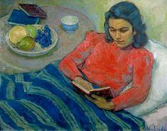 Meijer Bleekrode (1896 Netherlands - 1943  Poland), Els Bleekrode liggend in bed, 1935-36