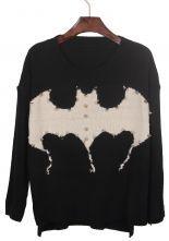Black Rivet Embellished Bat Pattern Dip Hem Sweater $29.52