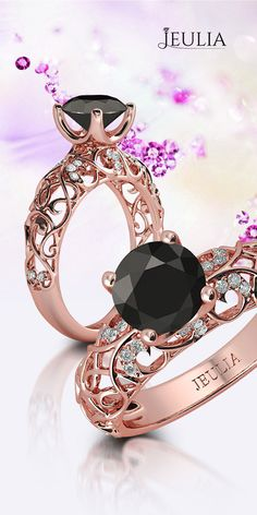 Rose Gold Vines Round Cut 1.9CT Black Diamond Rhodium Plated 925 Sterling Silver Women's Engagement Ring #Jeulia