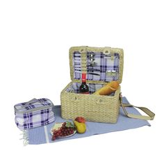 2-Person Hand Woven Natural Seagrass Picnic Basket Set with Accessories, Brown