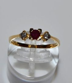 18K YELLOW GOLD RUBY & DIAMONDS . RING SIZE 7 #Handmade
