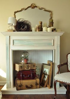 Here is a fun faux fireplace made from a twin size bookcase headboard!