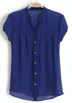 Blue Stand Collar Short Sleeve Buttons Chiffon Blouse - Sheinside.com