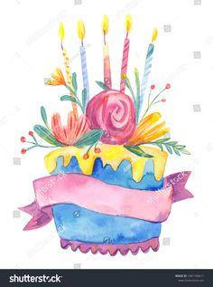 Creative Image of Birthday Cake Flowers Birthday Cake Flowers Watercolor Birthday Cake With Flowers And Candles Isolated On Birthday Cake With Flowers, Birthday Cake Card, Birthday Cake With Candles, Birthday Cake Girls, Happy Birthday Cakes, Cake Flowers, Flower Cakes, Pink Birthday, Teen Birthday