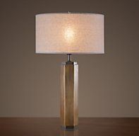 His - Hexagonal Column Table Lamp Vintage Brass for Additional Lighting at the Writing Desk