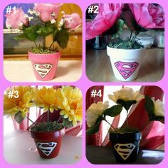 Hand Painted Decorative Super Hero Inspired Flower Pots by SuperCrafters, $6.00