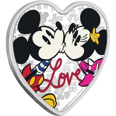 """Unique heart-shaped Disney Love 2019 Silver Coin features Mickey Mouse and Minnie Mouse. This is the fifth coin in the Disney Love collection. Year of Issue: The coin shows Disney's colorful sweethearts kissing above the word """"Love"""". Mickey Mouse Images, Mickey Minnie Mouse, Elizabeth Ii, Coin Buyers, Vintage Sweets, Coin Design, Coins For Sale, Commemorative Coins, Proof Coins"""