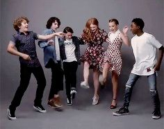 Gaten Matarazzo, Finn Wolfhard, Noah Schnapp, Sadie Sink, Millie Bobby Brown, and Caleb McLaughlin