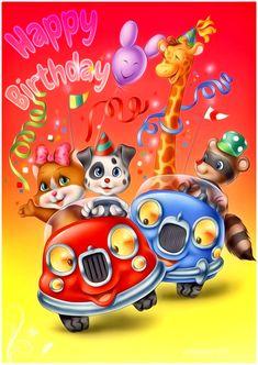 Happy Birthday - Megaport Media Animated Ecards, Animated Gifs, Share Pictures, Happy 2nd Birthday, Birthday Cartoon, Birthdays, Animation, Watch, Happy Brithday