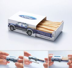 Ford Direct Mail Matchbox. Notice how the truck bed expands as you pull out the matches. #packaging