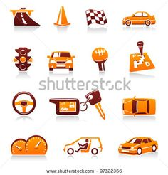 stock vector : Cars and automotive vector icon set. Driver, traffic light, racing flag, automatic transmission, handle gear, cone, steering wheel, automobile dashboard, keys, road, speed, vehicles, auto symbols