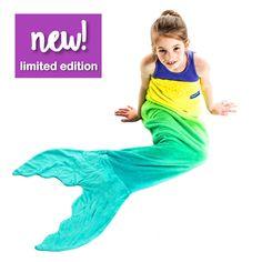 NEW! Ombre Kids Mermaid Blankie Tails® Yellow/Aqua (Ships 10/25)