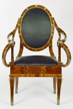 Armchair; Naples, Campania, Italy; about 1790; Marquetry of rosewood and kingwood; 122 x 64 x 44 cm (48 1/16 x 25 3/16 x 17 5/16 in.) GETTY MUSEUM