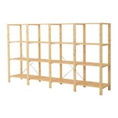 IKEA - HEJNE, 4 elementen/planken, Door planken en elementen toe te voegen kan je je combinatie eenvoudig vergroten als je meer opbergruimte nodig hebt.Onbehandeld massief hout is een slijtvast natuurmateriaal dat je nog duurzamer en onderhoudsvriendelijker maakt door het oppervlak te behandelen met olie of was.Wil je het meubel meer persoonlijk maken, dan kan je het lazuren of schilderen in je favoriete kleur.