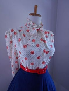 SALE  VINTAGE 1950s 1960s Atomic RED Polka Dot  by bluebarnvintage