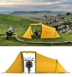 Redverz Series II Expedition Tent - This double-walled expedition tent is more than just a place for you to sleep. It's also got a vestibule big enough to fit your motorcycle to keep it both dry & hidden from prying eyes. | Werd