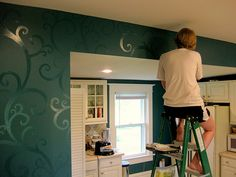 High gloss paint (Pittsburgh Paints Deep Emerald) swirl pattern on top of walls painted in flat (Pittsburgh Paints Deep Emerald).