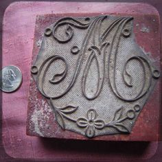 Antique Large French embroidery block rubber stamp letter M - flower linen projects printing monogram letter on fabric