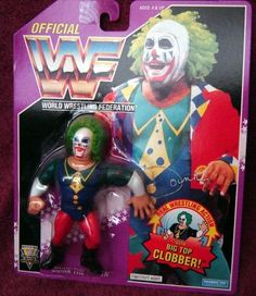 """WWF Hasbro Doink the Clown Wrestling Action Figure WWE WCW ECW by Hasbro. $55.27. With Big Top Clobber move. Purple Card. Poseable detailed action figure. WWF/WWE's Doink the Clown on Purple Card with """"Big Top Clobber"""" move. Fully poseable detailed wrestling action figure."""