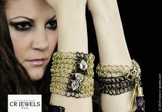 """Cr jewels // women's fashion Jewelry. """"SWEET REBEL"""" collection // #bracelet #fashion #CRJewelsitaly #jewels #jewelry #bijoux #jewellery #sweetrebelcollection #cristinaraviglione #gold #swarovski #SwarovskiElements"""