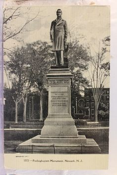 New Jersey NJ Newark Frelinghuysen Monument Postcard Old Vintage Card