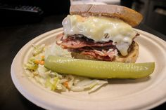 This Reuben sandwich from Grumans - Catering and Delicatessen is amazing. It has Montreal smoked meat sauerkraut Swiss cheese and is finished with a Russian dressing.  #YYCEats #NomNom #YYCFoodie #SymonsValleyMarket