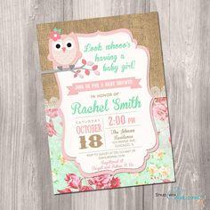Owl baby shower invitation girl baby shower por StyleswithCharm
