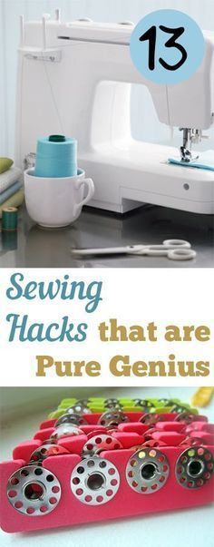 Sewing Techniques Couture 13 Sewing Hacks that are Pure Genius. Great ideas, tips and tutorials that will make sewing so much easier! - 13 Sewing Hacks that are Pure Genius. Great ideas, tips and tutorials that will make sewing so much easier! Sewing Projects For Beginners, Sewing Tutorials, Sewing Hacks, Sewing Crafts, Sewing Tips, Diy Projects, Sewing Ideas, Sewing Basics, Basic Sewing