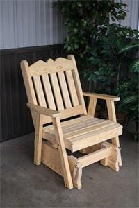 Amish Made Pine Wood Royal English Glider Chair