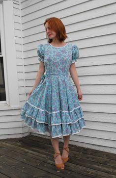 Vintage Blue Floral Dress Square Dance Partners Please by soulrust, $79.99