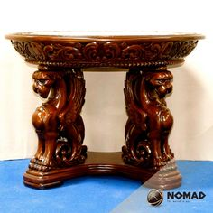 #Caoba# Muebles Finos# Antique solid mahogany hand carved #griffin table. A fabulous   example of great furniture @ Muebles NOMAD MEXICO