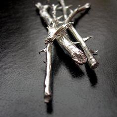 Silver Rose Stem Sculpture Symbol of Enduring Love