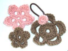 Crochet Hair Elastic : Crochet Ponytail Crochet Flower Hair Elastic by MayflowerMarket More
