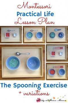 """Montessori Practical Life Lesson Plan: the Spooning Exercise. Teaching orderly work and precision are great gross motor activities that encourage children to practice """"control of error"""" - a vital Montessori skill. This post also goes into all spooning variations, including chopsticks."""