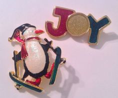 2 Christmas Brooches Pin SKATING PENGUIN JOY HOLIDAY SPARKLY ENAMEL SIGNED AAI