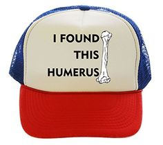 I Found This Humerus Funny Trucker Hat Cap red white blue