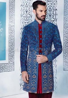 velvet laser cut sherwani for men, sherwani indowestern uk, blue sherwani, Asian clothes, wedding sherwani, Indian sherwani, sherwani indo western, sherwani, mens wedding sherwani. www.statusindiafashion.com