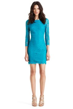Just in time for the holidays, the DVF Zarita lace dress in blue lagoon brightens up any room! #DVFholiday