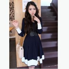 Sweety Navy Style Frills Button Embellished Blue Long Sleeves Cotton Dress For Women
