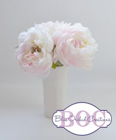 White Peony Bouquet Small Bouquet Peony Flower Arrangement by blueorchidcreations