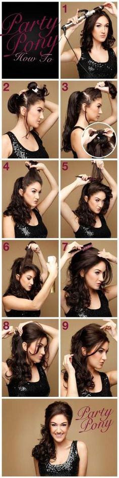 Wedding Hairstyles Half Up Half Down : Picture Description Party Pony Hair Tutorial- cute look, thinking of skipping some steps with a velcro My Hairstyle, Pretty Hairstyles, Wedding Hairstyles, Quick Hairstyles, Quinceanera Hairstyles, Summer Hairstyles, Evening Hairstyles, Medium Hairstyles, Hairstyle Ideas