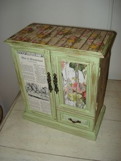 ALICE IN WONDERLAND Shabby Chic Upcycled Green Jewelry Box! Unique! Decoupaged from Pages in a 1952 Book of Knowledge! Storage Galore!