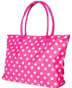 Pink Polka Dot Tote Purse Extra Large Beach Bag Party