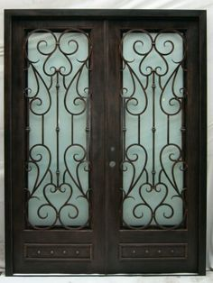 All of our doors are custom built to your exact dimensions. Window Grill, Metal Fab, Wrought Iron Doors, Door Ideas, Front Doors, Gates, Living Room Decor, Villa, Barn
