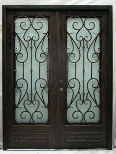 All of our doors are custom built to your exact dimensions. Window Grill, Metal Fab, Wrought Iron Doors, Door Ideas, Front Doors, Gates, Living Room Decor, Villa, Barn