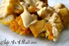 Indian Roasted Cauliflower with Curry Yogurt Sauce