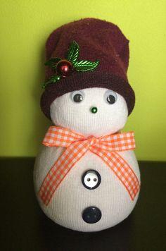 Snehuliačik robený z ponožky a ryže  + doplnky
