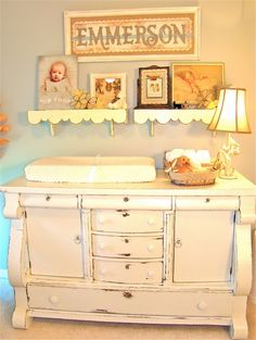 Shabby Chic Nursery - buffet converted to changing table. Chic Nursery, Girl Nursery, Girl Room, Nursery Ideas, Nursery Room, Project Nursery, Aqua Nursery, Room Ideas, Room Baby